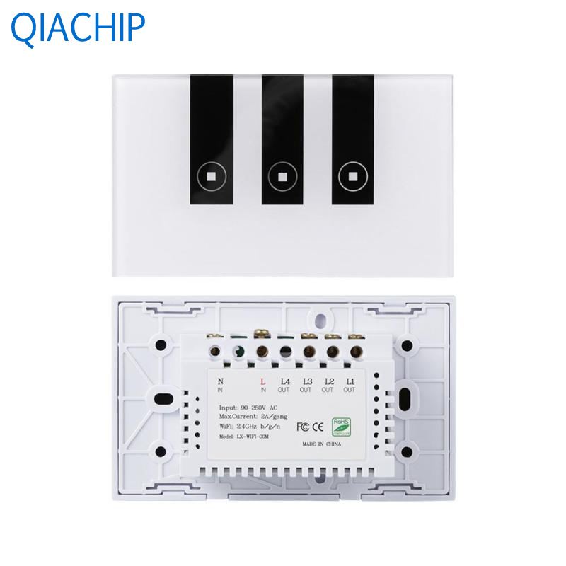 1pc Light Switch 220v App Remote Control 3 Channel Wall Switch Interruptor Touch Switch Crystal Tempered Glass Time Setting ifree fc 368m 3 channel digital control switch white grey