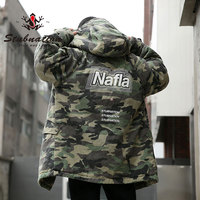 Stubnation Nafla Series Camouflage Winter Long Coats Mens Winter Thick Warm Hooded Outwear Coats