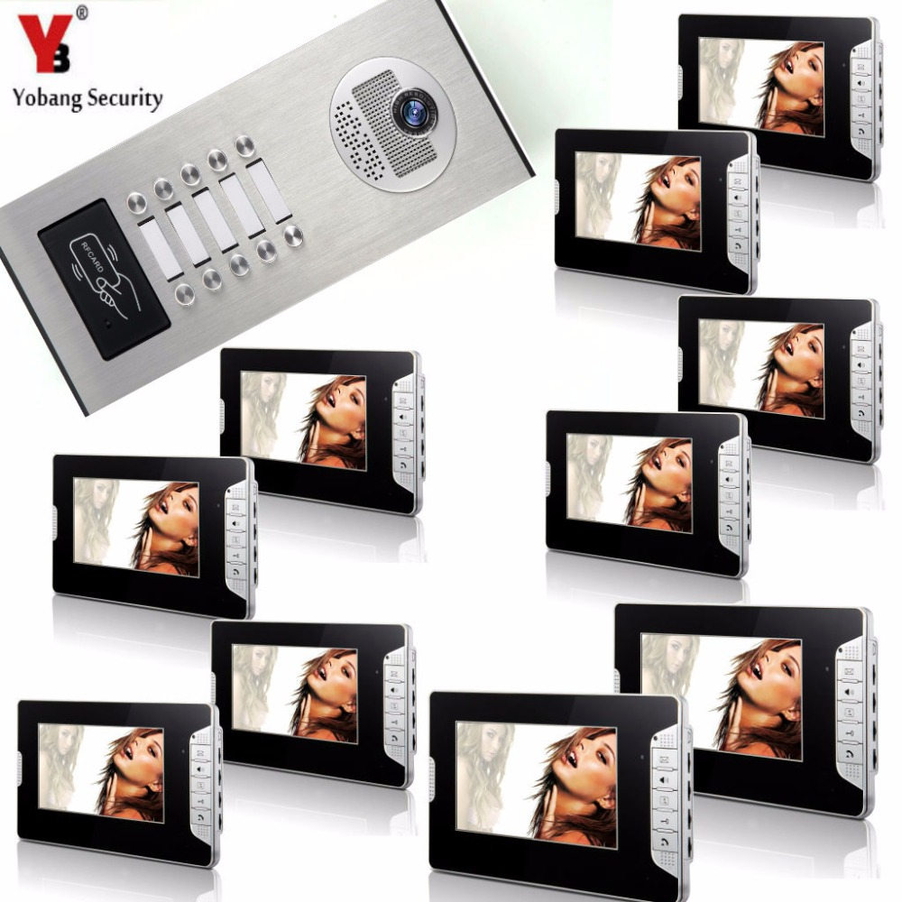 Yobang Security 10 Units Apartment Intercom System Video Intercom Video Door Phone Kit 7 Inch Monitor with RFID keyfobs