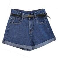 Плюс Размеры 2XL Винтаж Высокая Талия обжимной Джинсовые шорты Для женщин 2018 Европа Стиль мода Марка Тонкий Повседневное Femme Короткие джинсы
