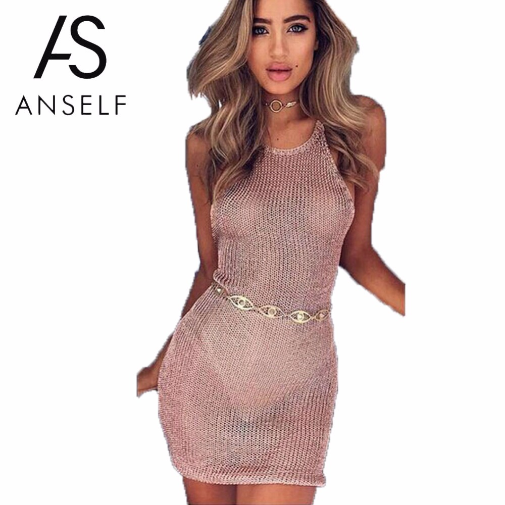 Anself 2018 Y Sheer Beach Summer Dress Women Off Shoulder Bodycon Slim Fit Backless Knitted