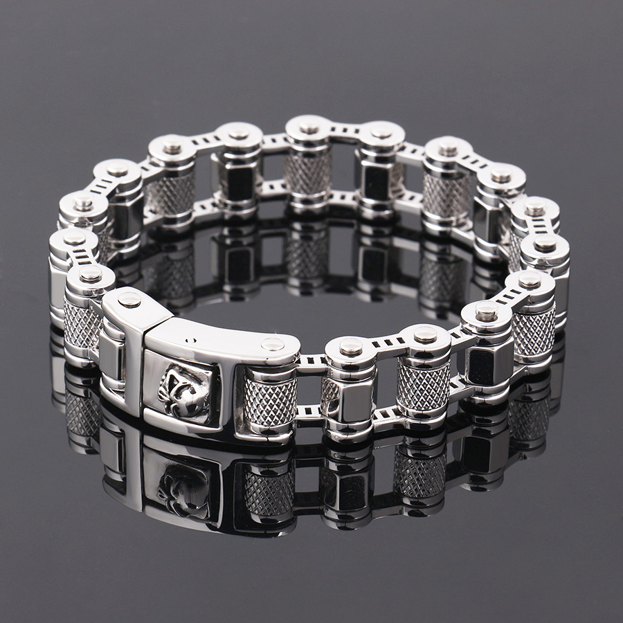 17mm new motorcycle bracelet 316L Stainless Steel Biker Motorcycle Bracelet Mens Boys Jewelry 2017 New stainless steel bracelet