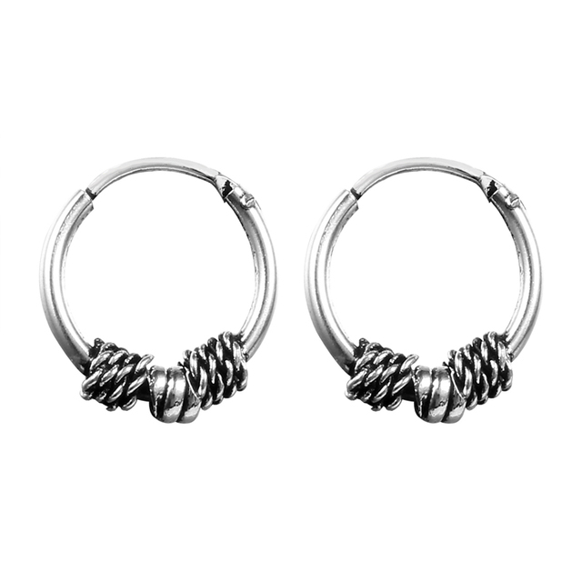 30cb2f827 Gypsy Tribal Endless Circle Hoop Earrings Handmade Indian Vintage Thai Silver  Color Small Earring Bali Wrap For Women Jewelry