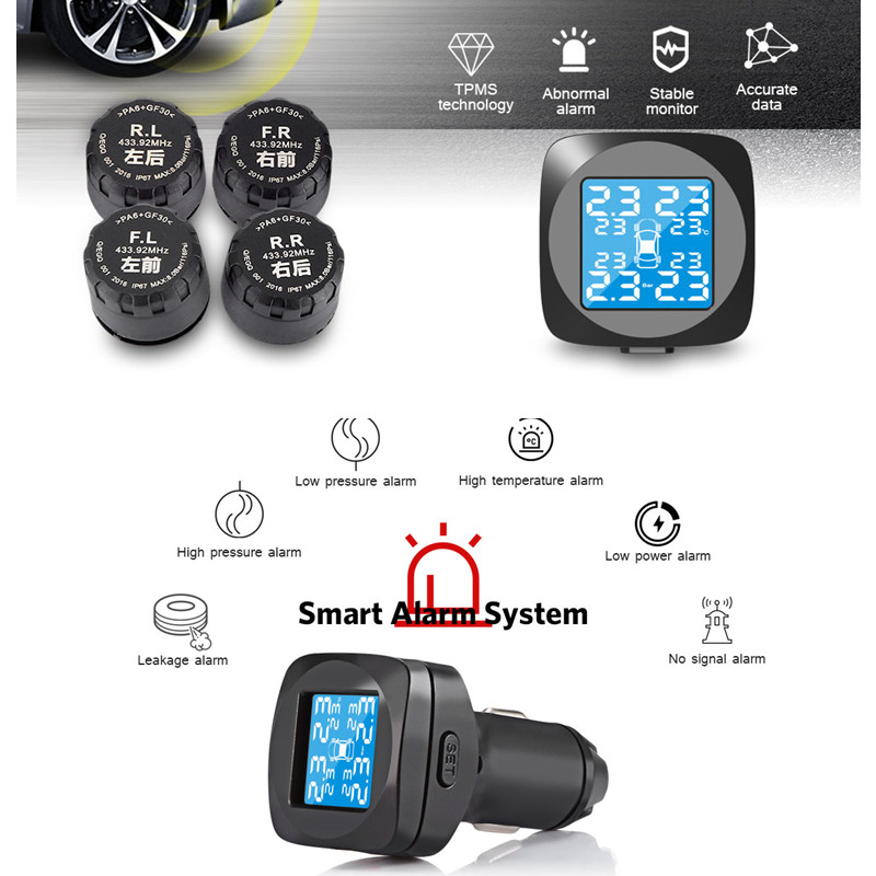 Smart Car Wireless TPMS External Tire Pressure Monitoring System Cigarette Lighter Digital LCD Display Tire Pressure Alarm tpms car tire pressure monitoring system alarm cigarette lighter digital lcd display auto security electronics external sensor
