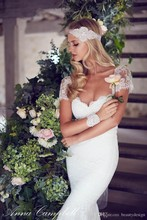 2015 Spring Summer lace Sheath wedding dresses elegant short sleeves backless gowns court train sexy bridal cheap