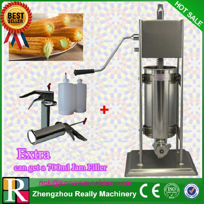 manual type churro maker / stainless steel 2L churro making machine with three moulds and nozzles with 700ml churro filler commercial stainless steel churro machine 25l electric fryer manual spanish churros maker 4 nozzles