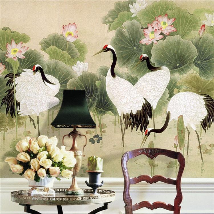 Chinese painting dancing cranes custom large wallpaper for Chinese mural wallpaper