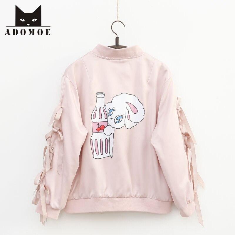 Automne Nouvelle Jeune Fille Douce Harajuku Rose Miss Bunny Lapin bande dessinée Vestes Kawaii Manches avec Ruban Mignon Femmes Manteau Zip tenue