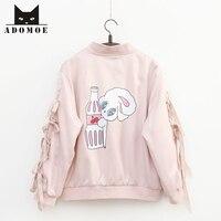 Autumn New Young Girl Sweet Harajuku Pink Miss Bunny Rabbit Cartoon Jackets Kawaii Sleeve with Ribbon Cute Women Coat Zip Outfit