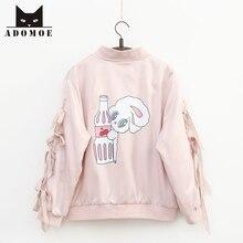 Autumn New Young Girl Sweet Harajuku Pink Miss Bunny Rabbit Cartoon Jackets Kawa