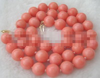 0926 natural perfect round pink coral necklace