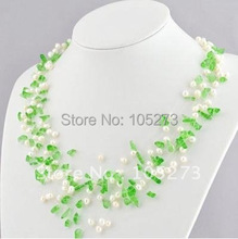 Pearl Jewelry AA 4-10MM White Punch Genuine Freshwater Pearl & Green Macadam Necklace 17