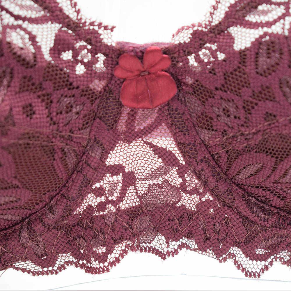 مثير الدانتيل الصدرية حجم كبير أ B C D كوب Underwire جمع تعديل يغرق الملابس الداخلية حمالات الصدر للنساء التطريز الملابس الداخلية BH أعلى