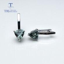 TBJ, натуральный турмалин, треугольные серьги 7,0 мм, драгоценный камень, серебро 925 пробы, хорошее ювелирное изделие, простой дизайн для девочки, подарок на день Святого Валентина