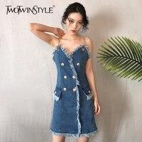 TWOTWINSTYLE 2018 Denim Off Shoulder Summer Dress For Women Sexy V neck Spaghetti Tassel Slim Dresses Female Clothes Fashion New
