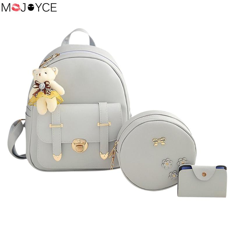 MOJOYCE Fashion Backpack Women Pu Leather Back Packs Famous Brand School Bags for Girls sac a dos femme with Purse and Bear new sailor moon black pu leather backpack women shoulder rucksack 2016 school bags for teenage girls brand sac a dos femme
