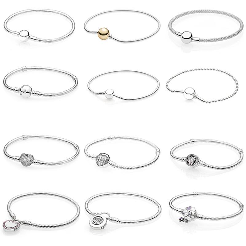 12 Style 925 Sterling Silver Basic Snake Chain Bracelets For Women Crystal Clasp Clip Fit Charms Beads & Pendants For Women 4 style 925 basic snake chain bracelets round flower love heart pink color buckle bracelets for women diy charms jewelry