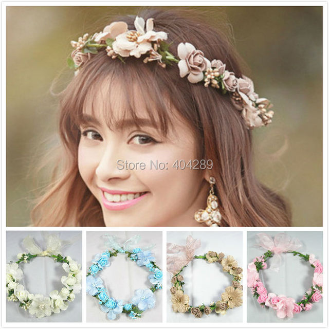 Wedding Bridal Bohemian Flower Hair Garland Handmade Hairband Vintage Accessories