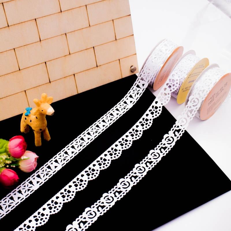 3 шт./лот креативные кружевные ленты белые узоры DIY декоративная клейкая Маскировочная лента товары для дома и офиса