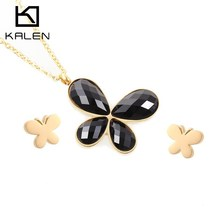 Kalen New Cheap Colorful Jewelry Set Stainless Steel Gold Color Butterfly Pendant Necklace And Earrings Sets For Women 2016