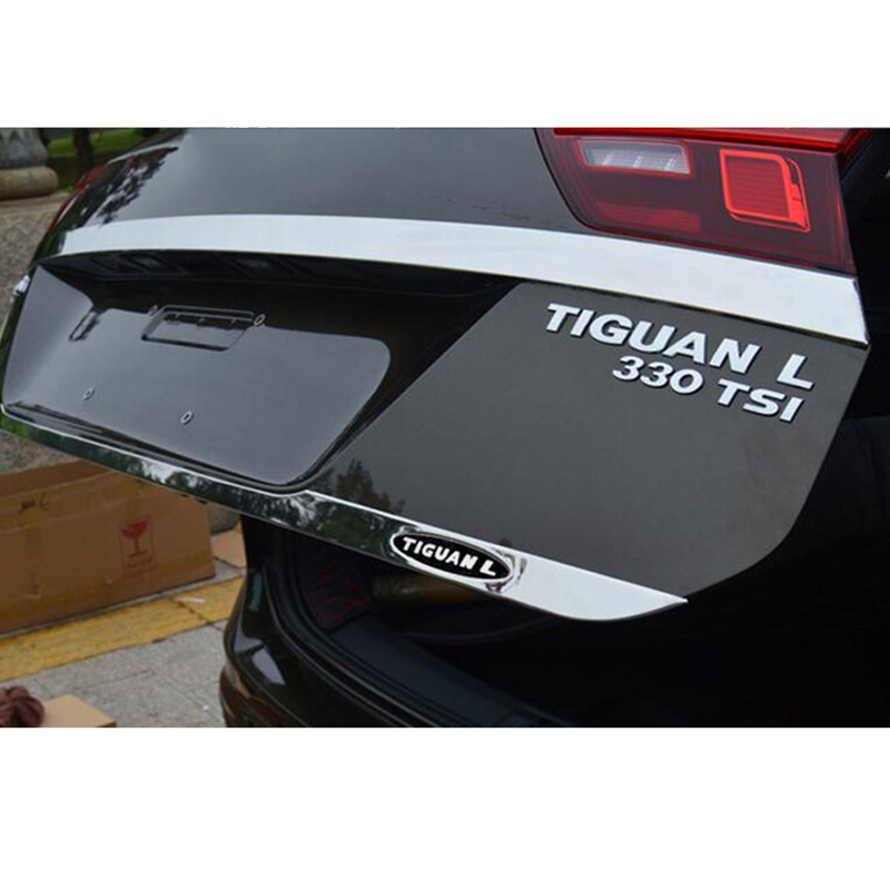 Black Logo Stainless Steel Rear Tailgate Trunk back door Cover Trim For <font><b>tiguan</b></font> L 2017 2018 Car Accessories Styling image