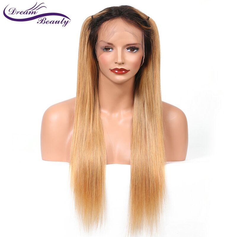 Dream Beauty ombre brazilian hair lace front wig 1b 27 Remy straight 13x6 Deep part Human