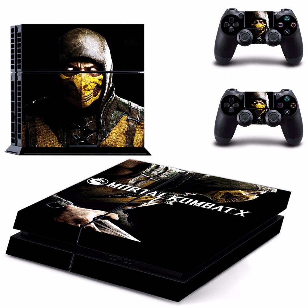 Game Mortal Kombat X PS4 Skin Sticker Decal For Sony PlayStation 4 Console and 2 Controllers PS4 Skins Sticker Vinyl