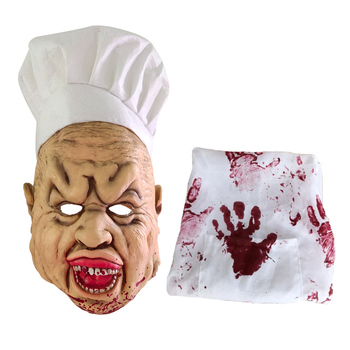 New Shiny Terror Chef Halloween Mask Bloodstain Toy Birthday Party 2020 New Year Decoration Monster Spoof Headdress