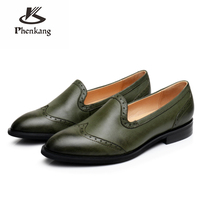 Genuine sheepskin leather lady designer brogues vintage yinzo flats shoes handmade oxford shoes for women 2018 green brown blue