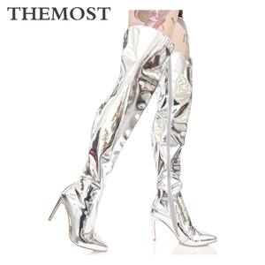 Женские сапоги-ботфорты из искусственной кожи ARQA, высокие сапоги с острым носком на высоком каблуке, модные брендовые женские высокие сапог...