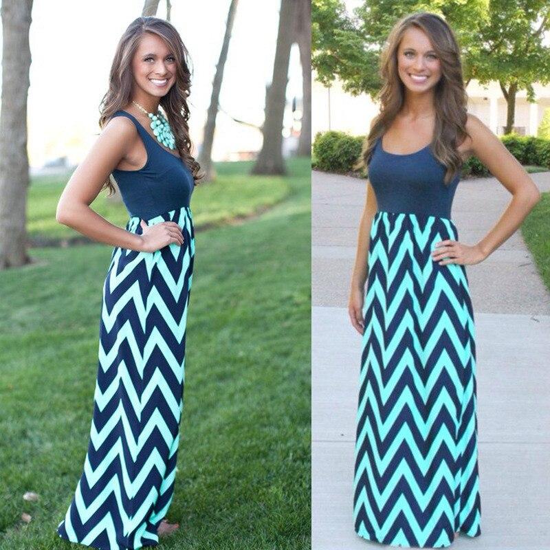 Women Summer Beach Boho Maxi Dress 2018 High Quality Brand Striped Print Long Dresses Feminine Plus Size 1