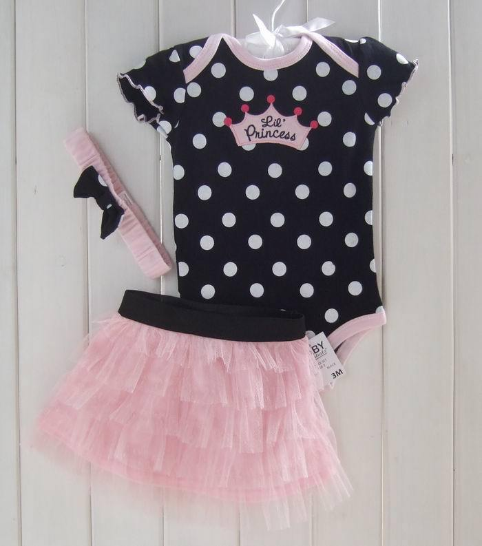 Infant Baby Girl Clothing Set Bodysuit Short Skirt Dot Summer Newborn Clothes Costume First Birthday ABB-1508