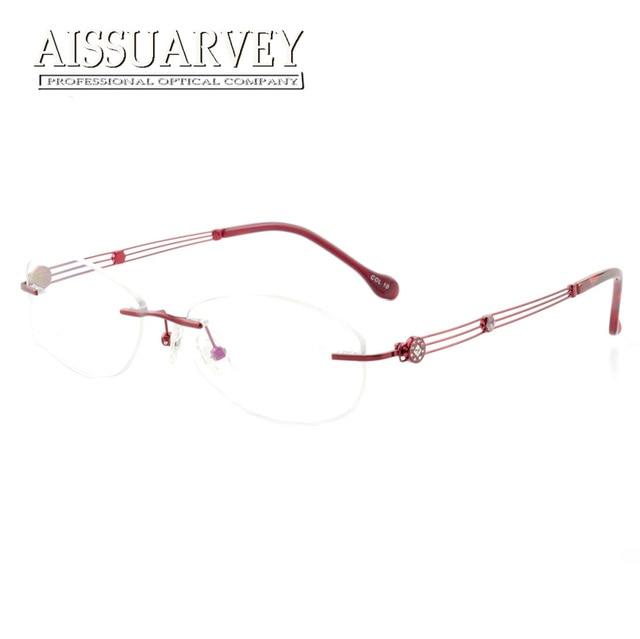 78a0826e972 Flower Rimless Eyeglasses Frames Women Optical Glasses Prescription Brand  Designer Top Quality Eyewear Hollow Rhinestone Elegant