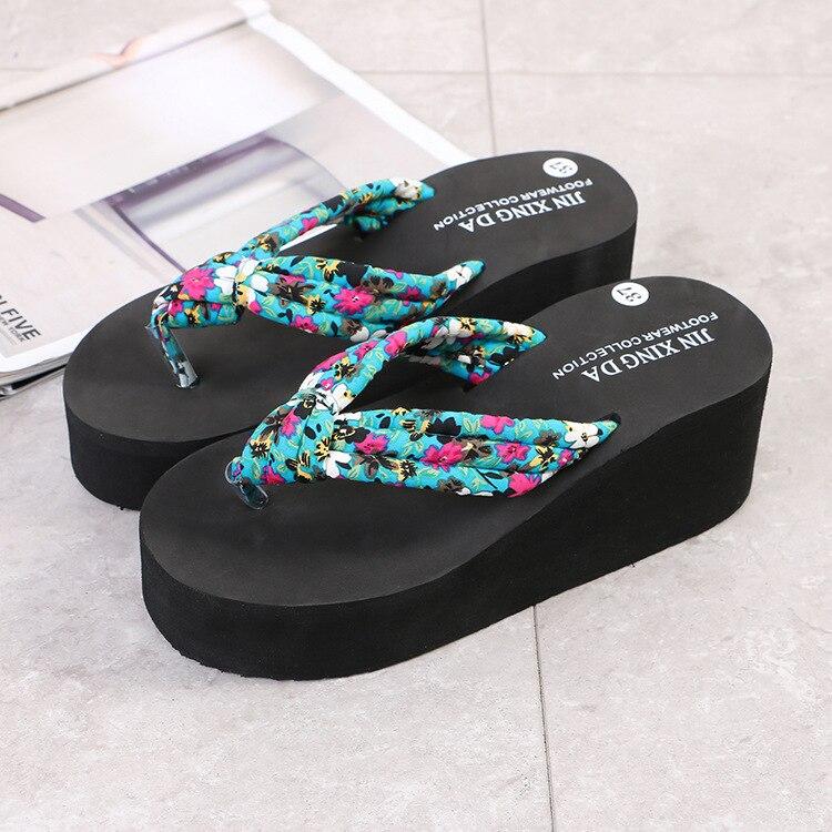 Ladies Caual Shoes Woman Summer Fashion Floret Flip Flops Non Slip Wedges Beach Slippers Femme Flower Flip Flops in Flip Flops from Shoes