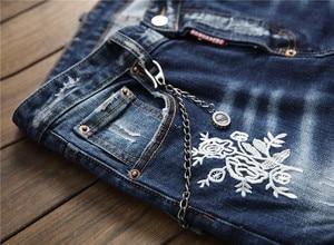 Image 5 - European American Style luxury quality Mens slim jeans pants famous brand mens Pencil Pants Straight blue hole jeans for men