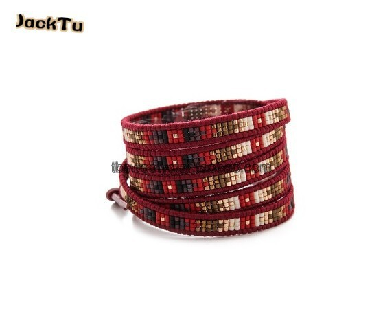 2016 hot fashion red mixed seed beads gold red leather wrap bracelet