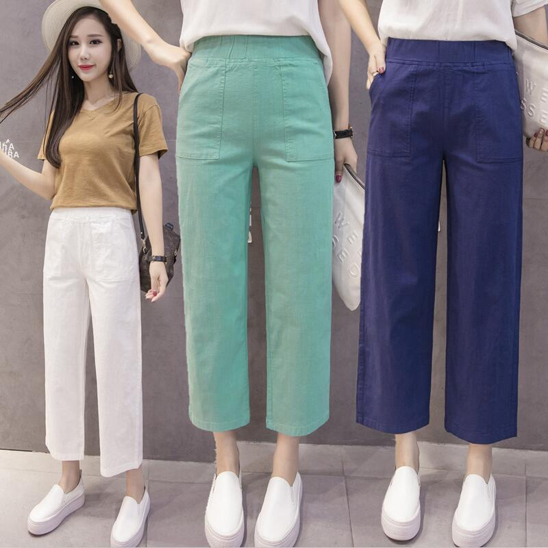 New 2019 Spring Summer Fashion Mid Waist Cotton   Wide     Leg     Pants   Female Plus Size M-6XL 7XL Loose Casual   Pants   Trouser For Women