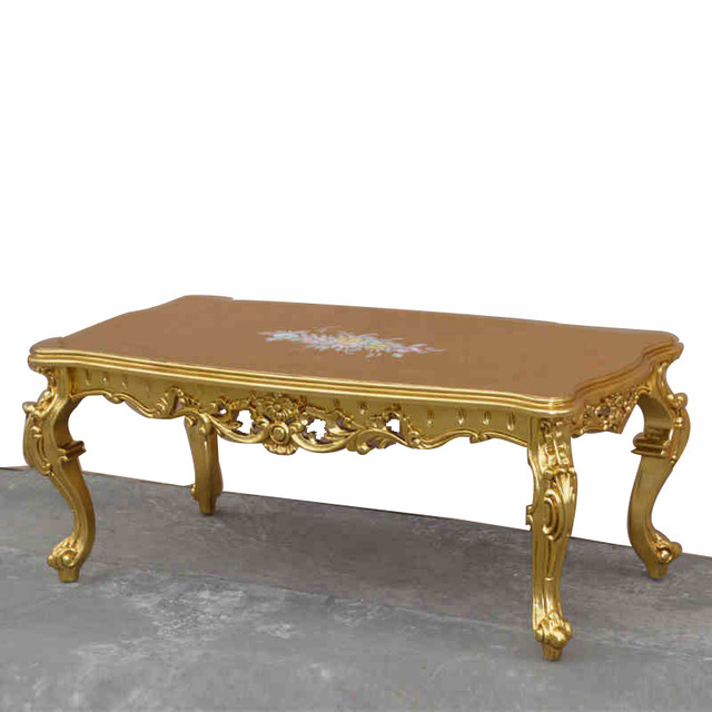 european style luxury home hand painted french furniture wood carving wood coffee table long luxury - Carved Wooden Coffee Tables
