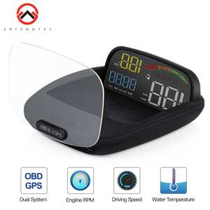 Car Hud Display 2 in 1 GPS OBD2 Speed Projector Digital GPS Speedometer Car HUD Display On-board Computer Security Alarm Hud HD