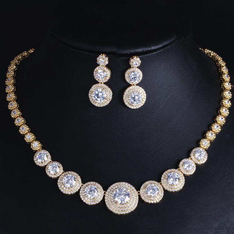 Feuille poire cristal Zircon or Rose Pated oreille bijoux ensemble boucle d'oreille collier pendentif M02-T0132