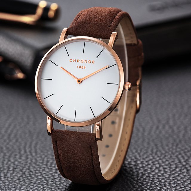 CHRONOS 1898 Luxury Watch Men Women Rose Gold Silver Casual Quartz Leather Watches 40mm Clock Relojes Mujer Montre Femme