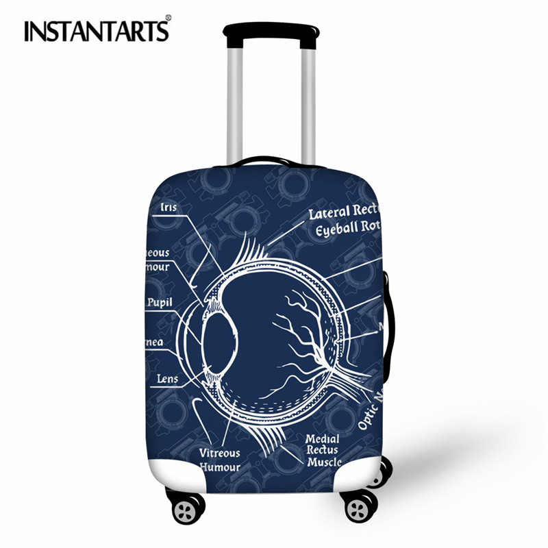 INSTANTARTS Optometry Printing Elastic Luggage Protective Cover For 18-30 Inch Trolley Travel Suitcase Protect Dust Bag Case