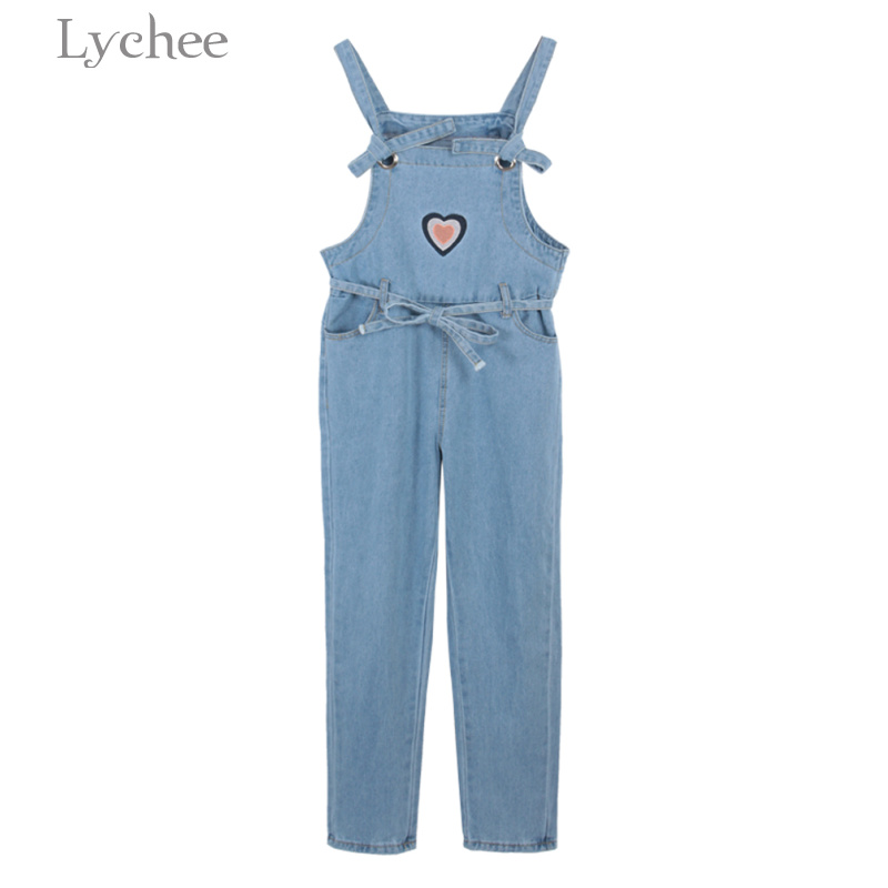 Lychee Preppy Style Spring Autumn Women Jumpsuit Heart Embroidery Lace Up Adjustable Waists Casual Playsuit