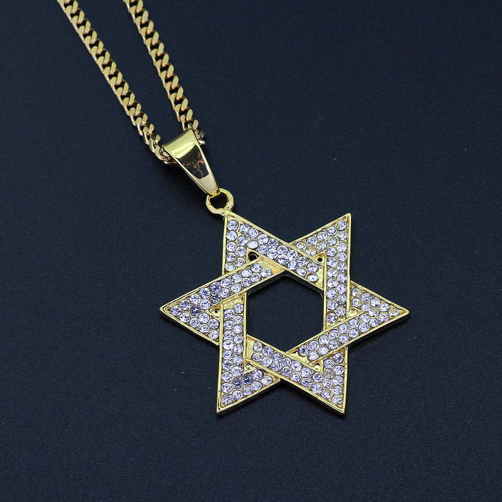 ... Hip Hop Jewish Jewelry Star of David Pendant Necklace Stainless Steel  Vintage Gold Color Ice Out ... dc40a3598f27