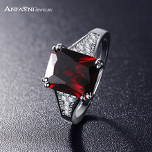 ANFASNI 2017 Latest Ladies Finger Ring Big Red Cubic Shape Silver Color Zircon Ring Accessories CRI0231-B