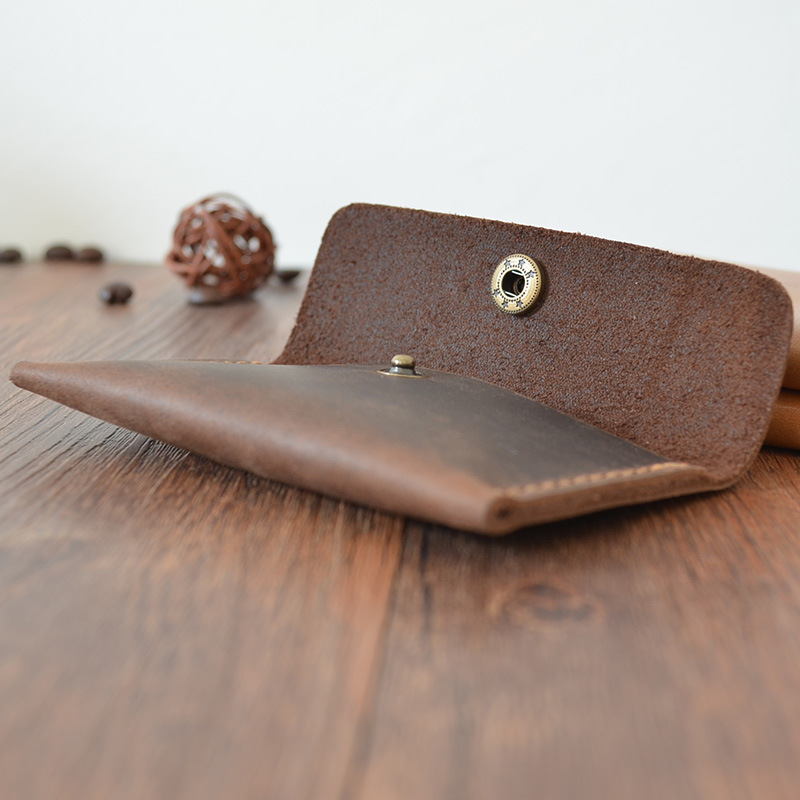 Creative Handmade Card Holder Vintage Genuine Leather Wallet for Credit Cards Men Hasp Small Coin Pocket Card Organizer