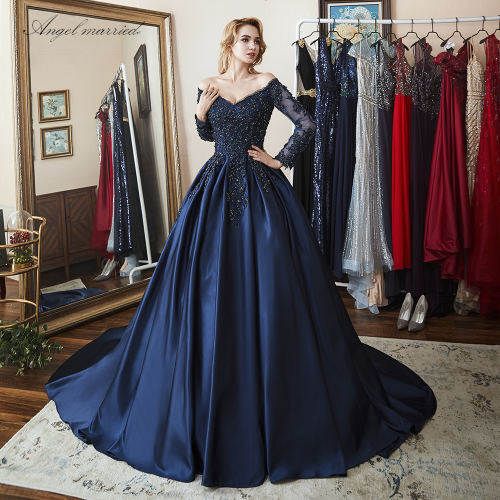 Angel married elegant Evening Dresses navy blue cap sleeve prom ...