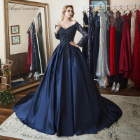Angel married elegant Evening Dresses navy blue prom gowns applqiues lace mother of bride dress vestido de festa 2018