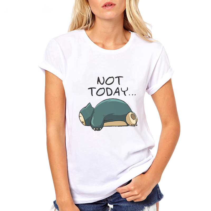 white-summer-new-t-shirt-women-font-b-pokemon-b-font-design-funny-tshirts-snorlax-not-today-printed-harajuku-top-tee-o-neck