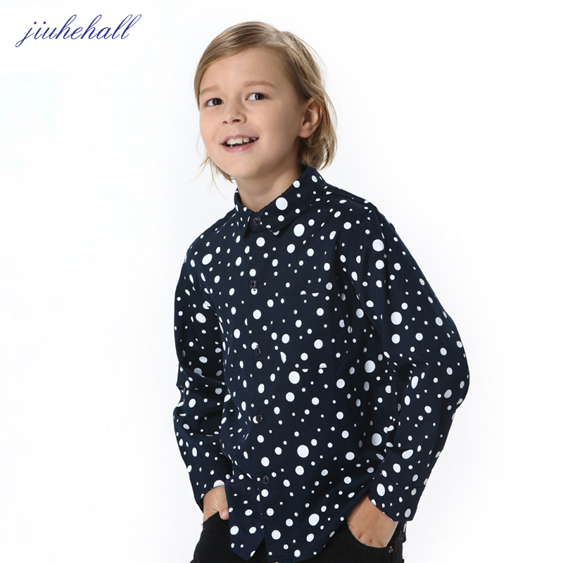 Children Long Sleeves Turn-down Collar Shirts For Big Boys Polka Dot Print Designs Casual Shirts Kids White Shirts Clothes G1037